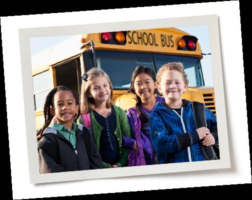 Children in front of school bus